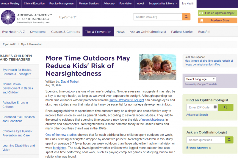 American academy of ophthalmology and the need for time outdoors