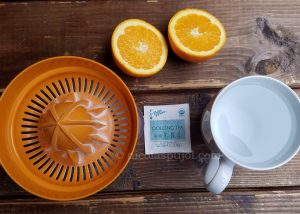 Oolong tea orange juice drink