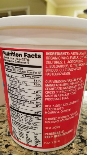 plain whole milk yogurt nutrition data