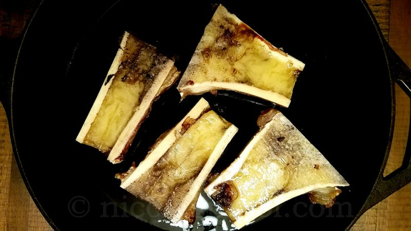 Baked beef bone marrow