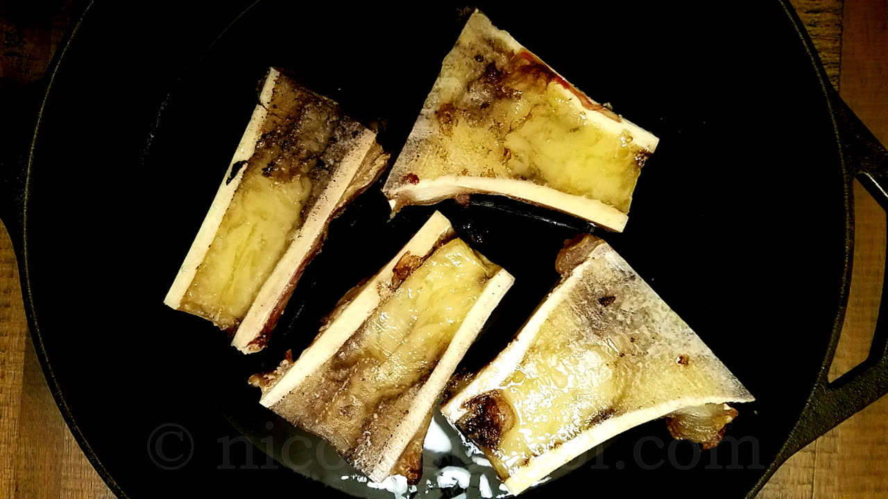 Baked red beef bone marrow