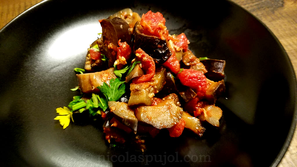 Sauteed eggplant in tomato sauce