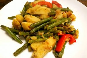 Sauteed green beans, sweet potatoes in avocado oil