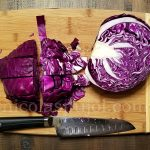 Slice the red cabbage