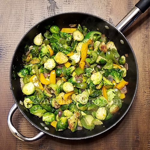 Vegan Brussels sprouts stir fry recipe