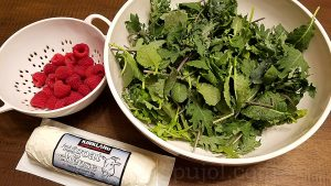 Baby kale goat cheese raspberry salad ingredients