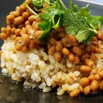 Provence-style natto and brown rice topped with olive oil
