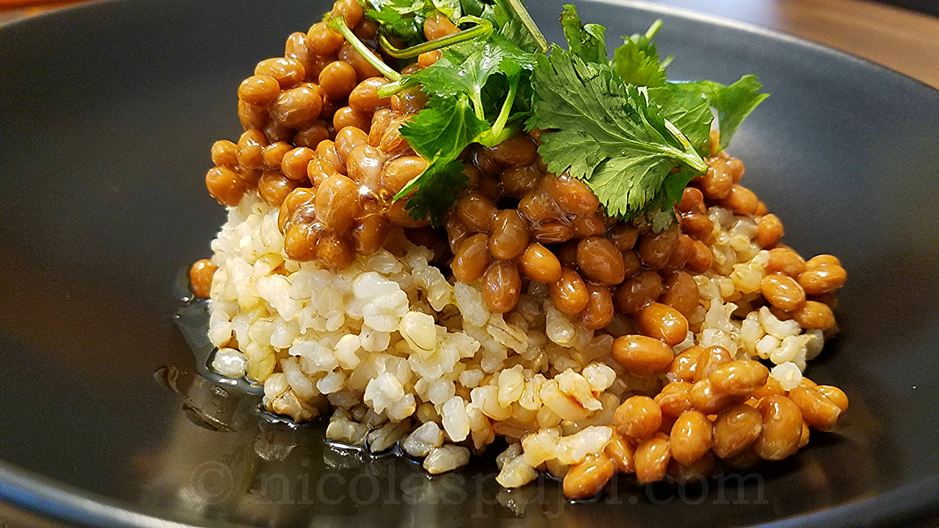 French-Japanese fusion natto with brown rice and olive oil