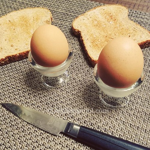 French style soft-boiled eggs with bread