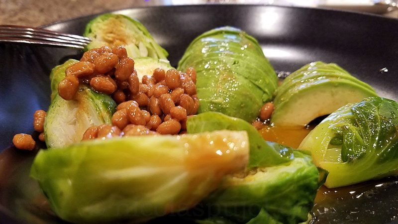 Natto, avocado and Brussels sprouts in spicy wasabi sauce
