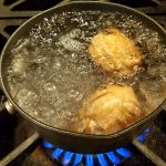 Place the cold eggs in a boiling pan