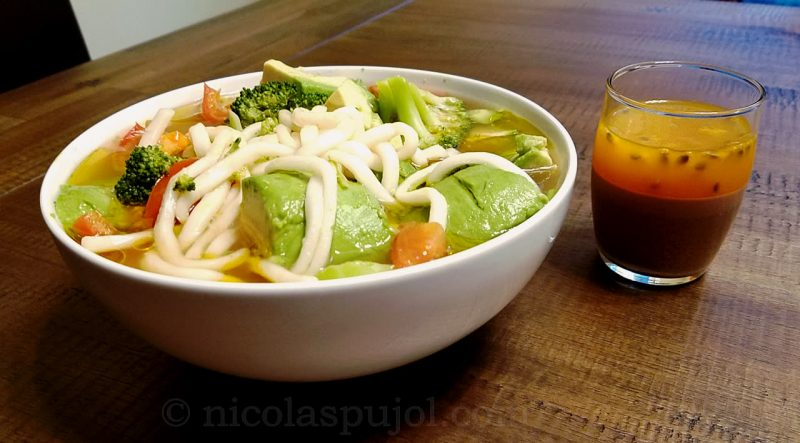 Vegan udon noodles with veggies and panna cotta for dessert