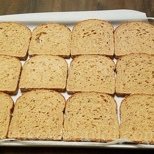 Whole grain sandwich bread slices for croque-monsieur