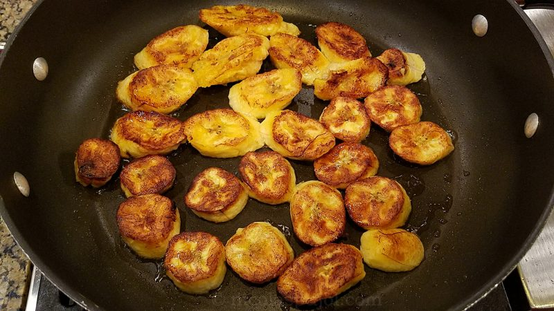 Fried planatos on the stove