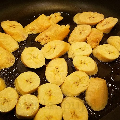 fried ripe plantains in skillet
