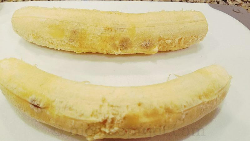 Peeled ripe plantain bananas