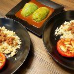 Natto quinoa in wasabi sauce with seared tomato