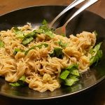 Gluten-free vegan pasta with garlic and olive oil