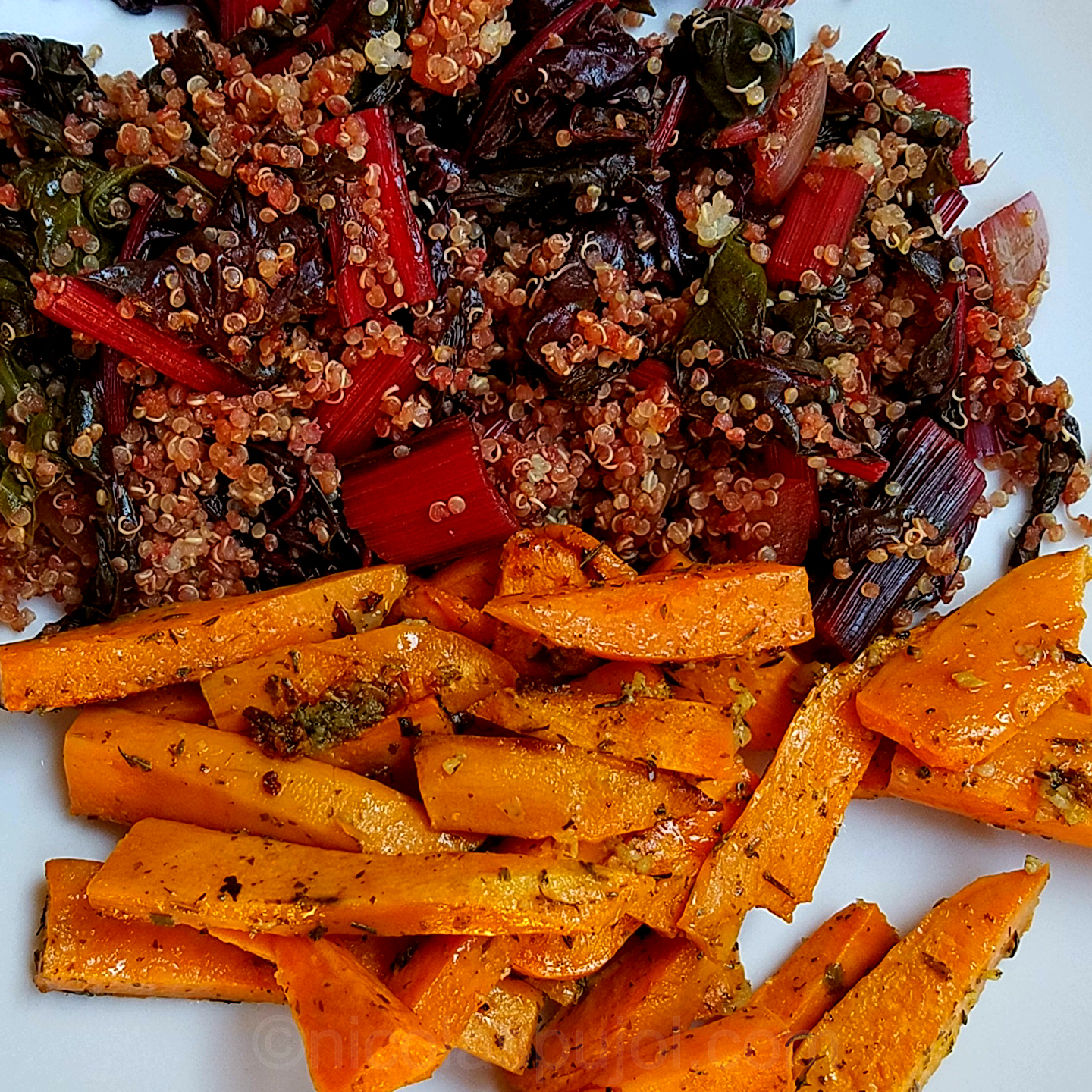 Sweet potato fries with quinoa and red chard