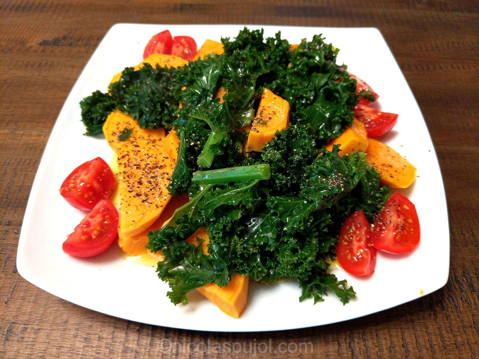 Vegan, paleo and gluten free kale sweet potato salad
