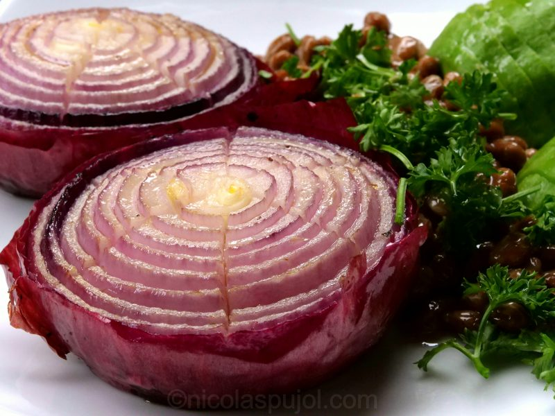 baked onion with olive oil