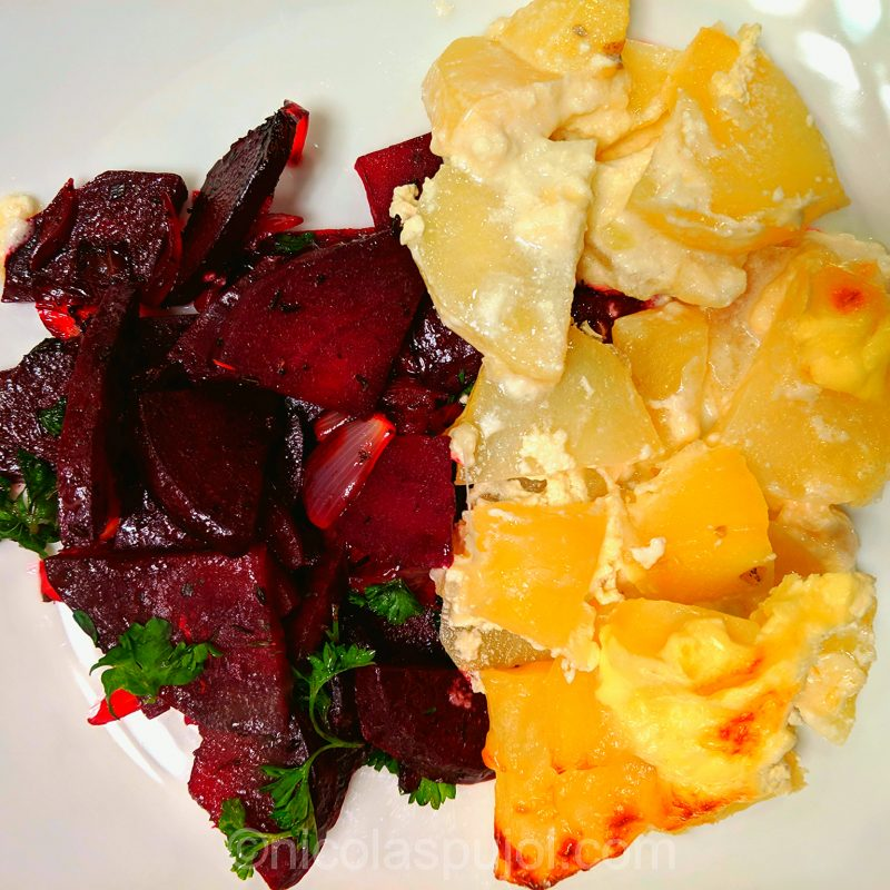 sauteed beets with gratin dauphinois