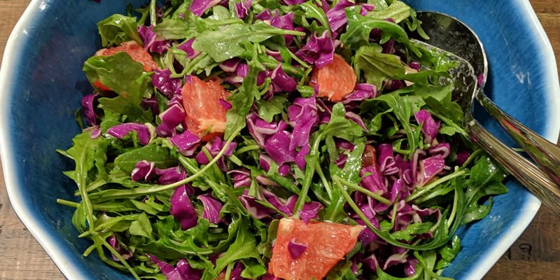 Arugula red cabbage grapefruit salad