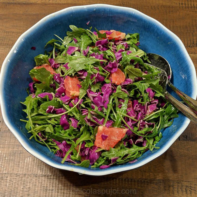 Arugula red cabbage grapefruit salad