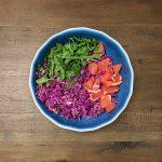 Arugula red cabbage grapefruit salad ingredients