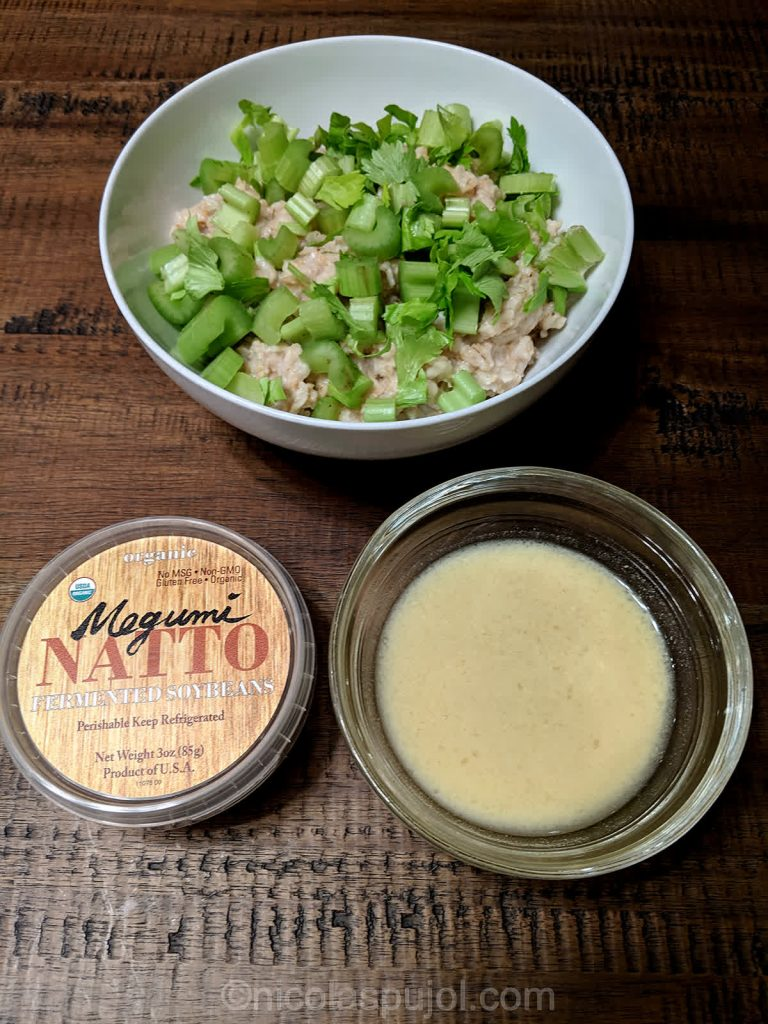 Celery, natto and a lime mustard dressing