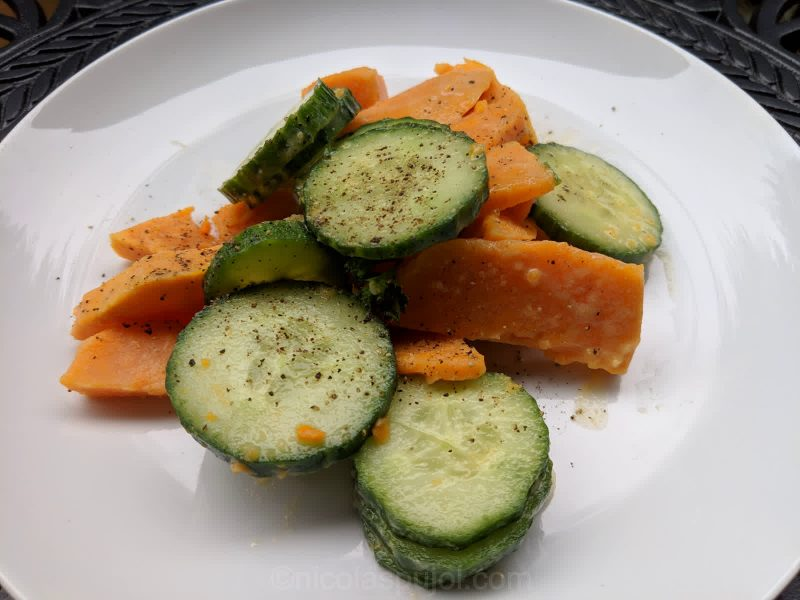 Cucumber sweet potato salad with light French dressing