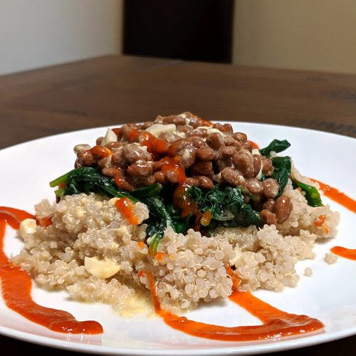 Food pairing natto spinach and quinoa