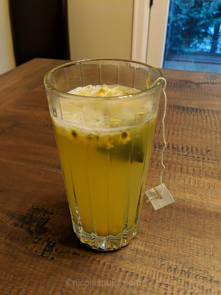 Hot lemon juice green tea with passion fruit drink