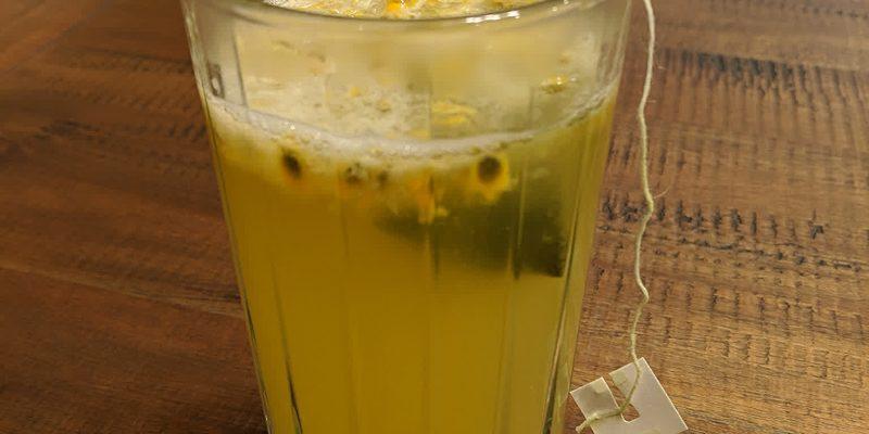 Hot lemon juice green tea with passion fruit drink