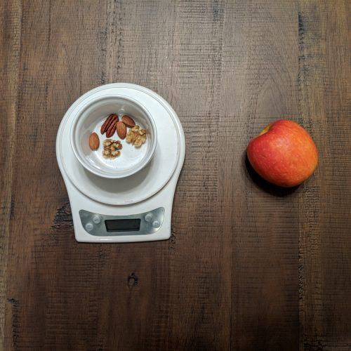 Apple and mixed nuts for a light meal