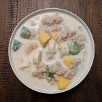 Oatmeal with kiwi mango banana and almond milk