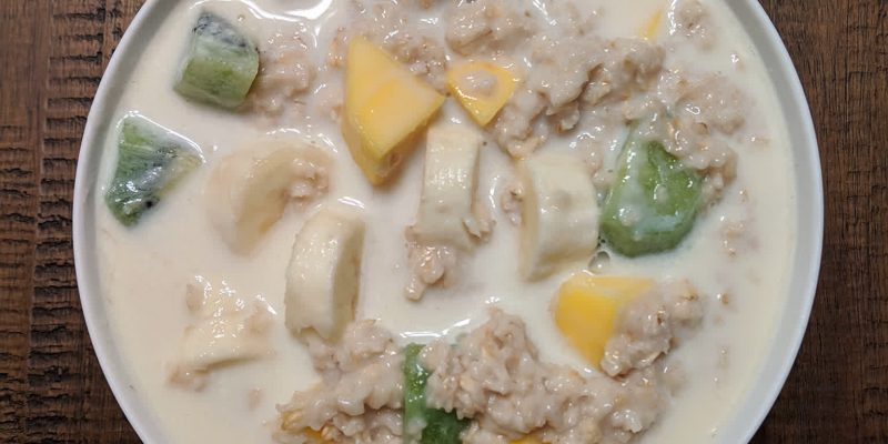 Oatmeal with kiwi mango banana and almond milk