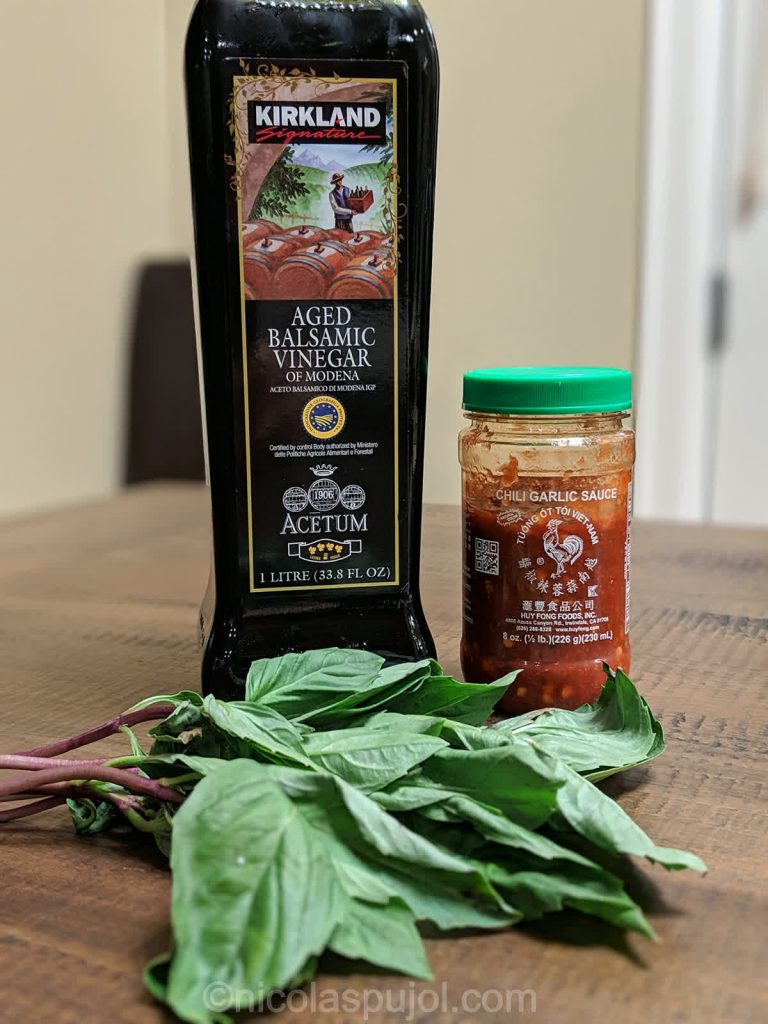 Oil-free spicy balsamic vinegar basil dressing ingredients