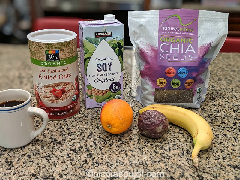 Orange banana oatmeal with soy milk and passion fruit ingredients