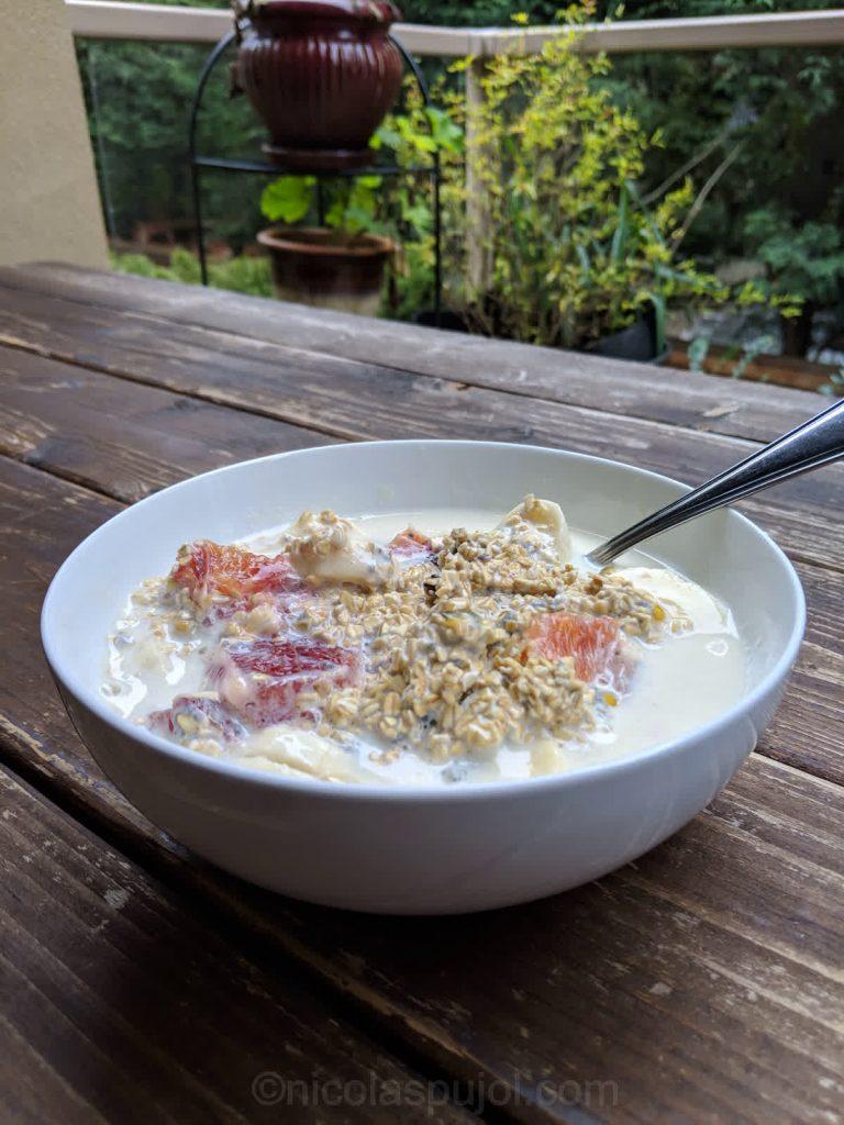 Raw oats fruit breakfast recipe