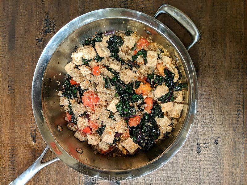 Seared tofu mushroom in quinoa kale spicy sauce