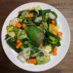 Steamed leek and carrot salad with avocado