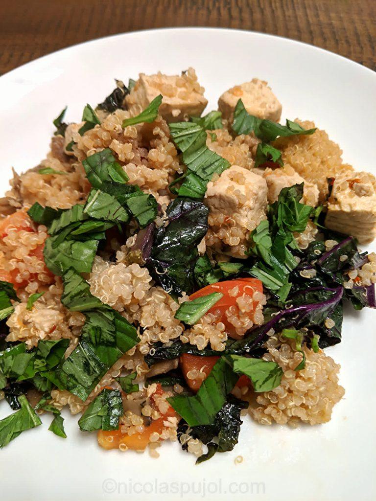 Tofu quinoa with kale and maitake mushroom