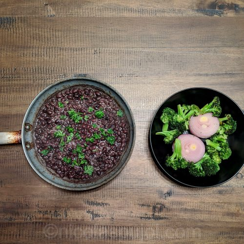 Seared black beans, broccoli and onion
