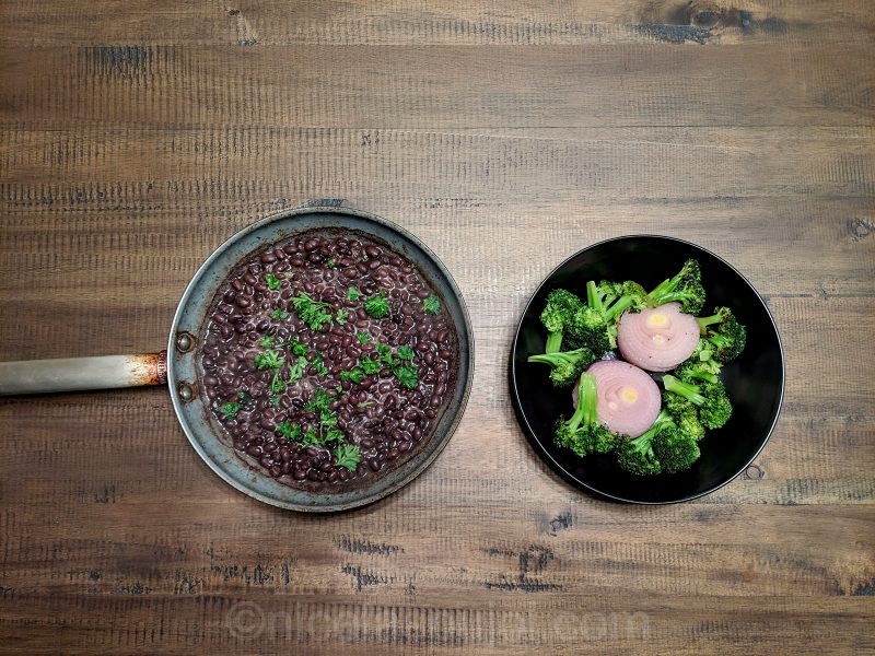 Seared black beans, broccoli and onion