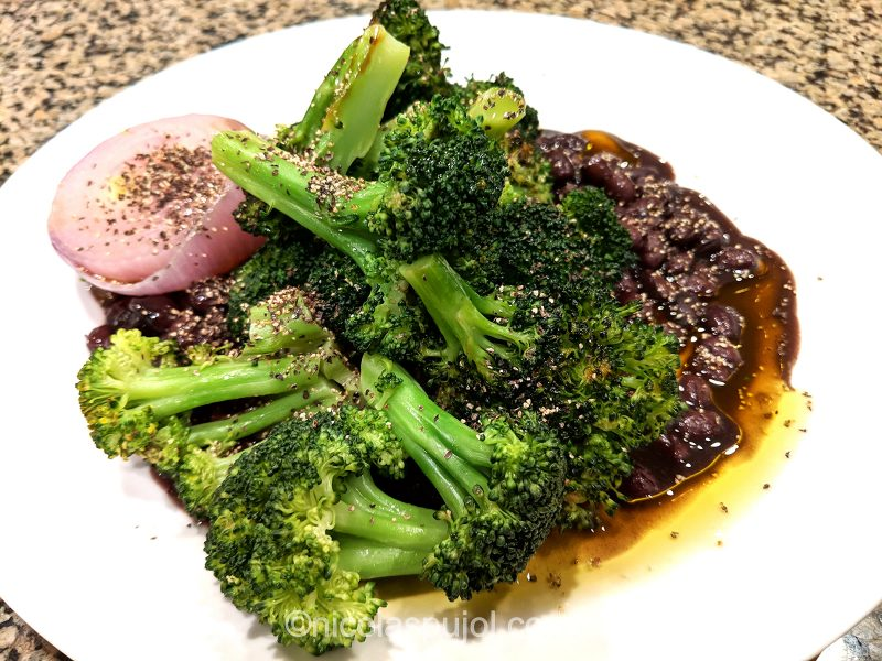 broccoli black beans with seared onion