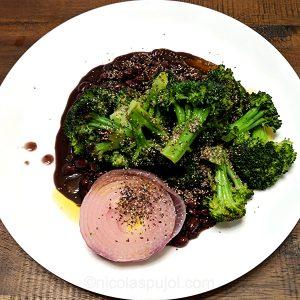 seared broccoli and onion in black bean base
