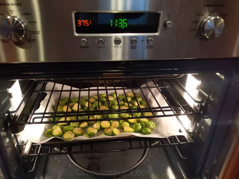 Bake Brussels sprouts in the oven