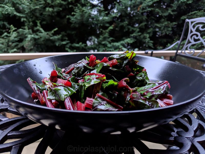 Beet greens salad in lemon mustard sauce