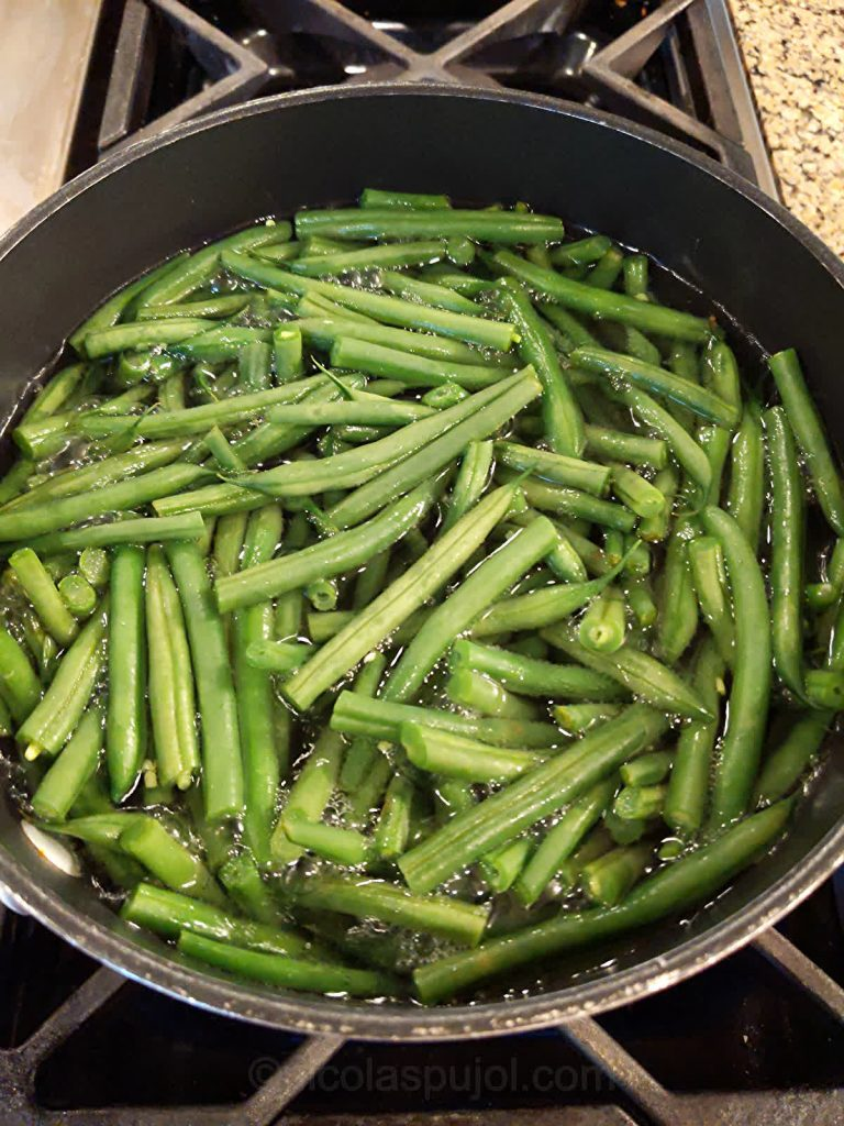 Boil green beans to make the salad